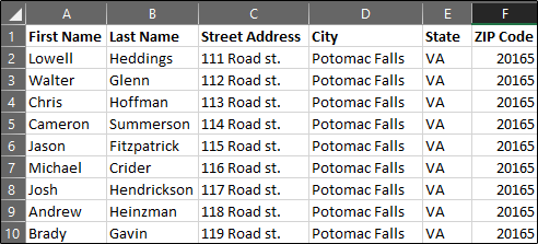 Mailing List in Excel