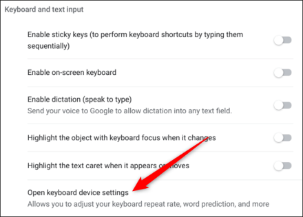 Open addition keyboard settings when you click on Open Keyboard Device Settings