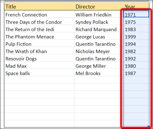 Highlight all the cells to which you want to add some data validation.