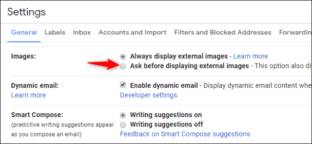 Option to disable external images and thus email tracking in Gmail