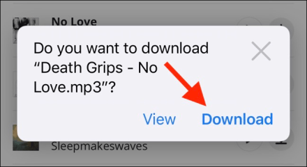 Tap on Download button to start a download