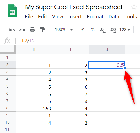 If you want to apply the same formula to the rest of a table, double-click the little blue square and the rest of the column underneath will