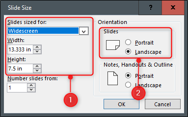 Set slide size and orientation