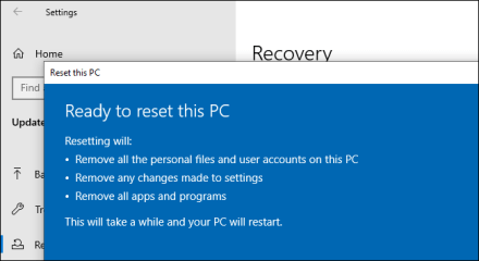 Resetting a PC from Windows 10's Settings app.