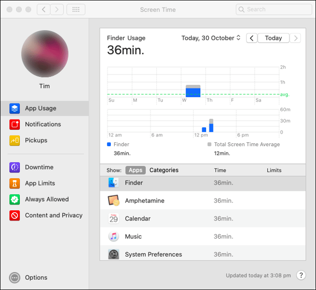 "The Screen Time ""App Usage"" stats in macOS Catalina."