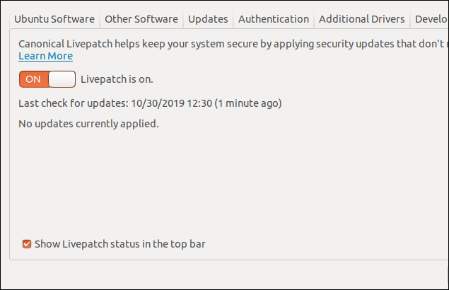 Livepatch tab in the Software and upgrades dialog window