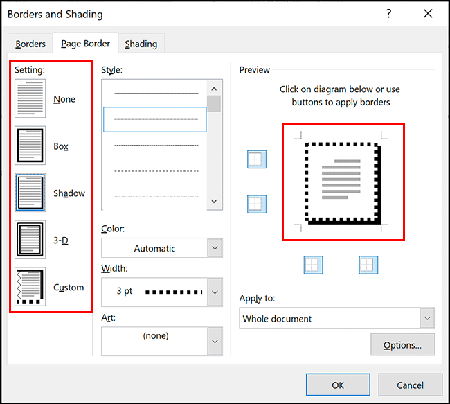 """Select your Word border style by clicking one of the options in the """"Setting"""" section of the """"Page Border"""" tab in the """"Borders and Shading"""" dialog box"""