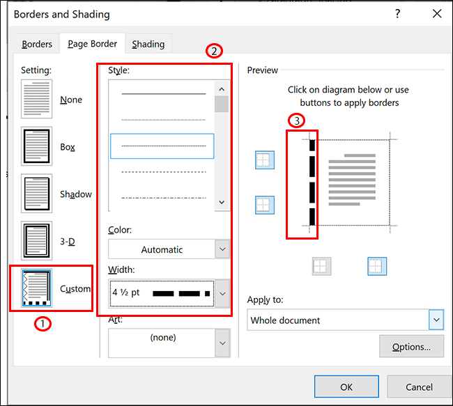 In the Page Border options for Microsoft Word, select Custom, select your formatting, then click on one of the border lines in the Preview section to apply it