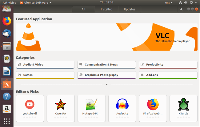 The Ubuntu Software Center application.
