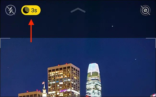 The Night mode button on iPhone 11.