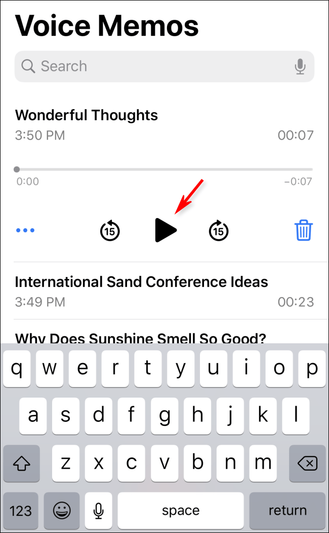 Play back a voice memo in iOS