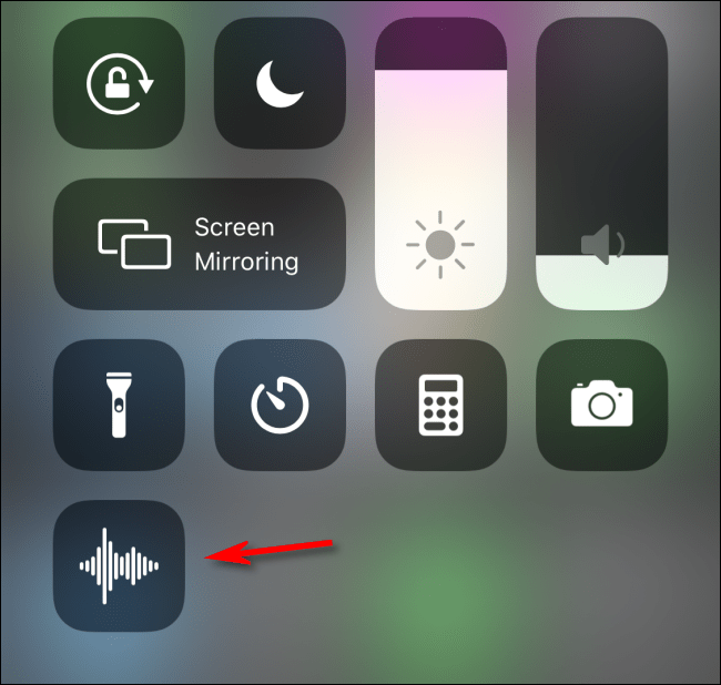 Select voice memos icon to use it in iOS Control Center
