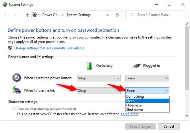 Changing what Windows 10 does when you close your laptop's lid on battery and while plugged in.