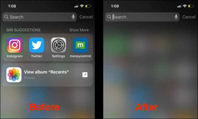 After disabling Siri Suggestions on Spotlight Search