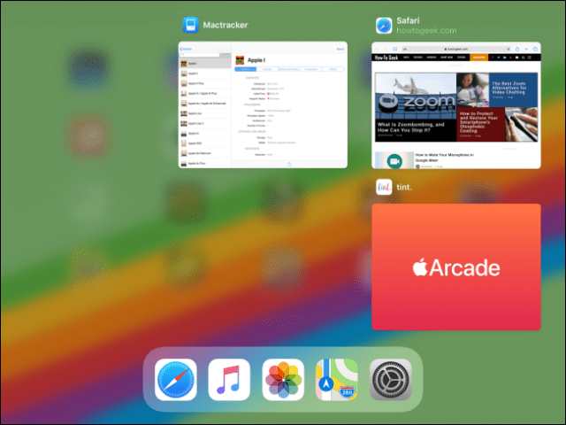 The App Switcher on an iPad after an app has been closed.