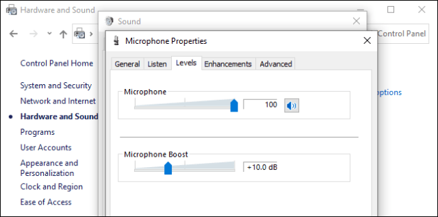 Microphone volume level and boost options that affect background noise