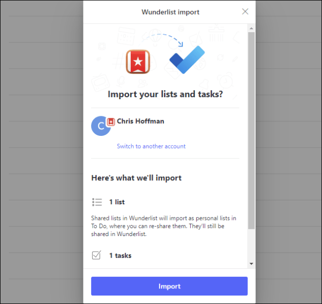 The Wunderlist Import confirmation prompt in Microsoft To Do