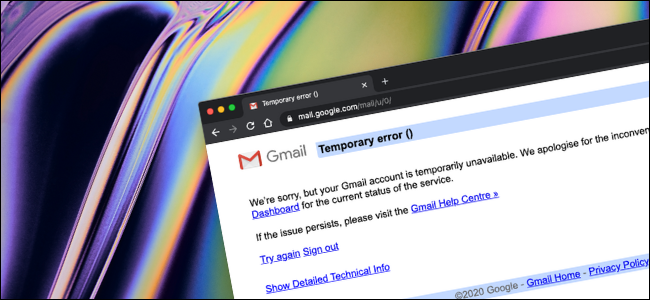 The Temporary Error when trying to access Gmail after deleting an account.