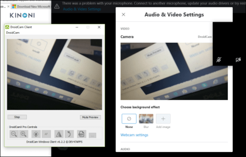 The DroidCam Client showing a preview of an Android phone's camera.