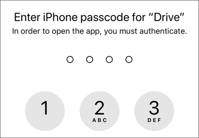 Without permissions, Google Drive will use your device's lock screen passcode