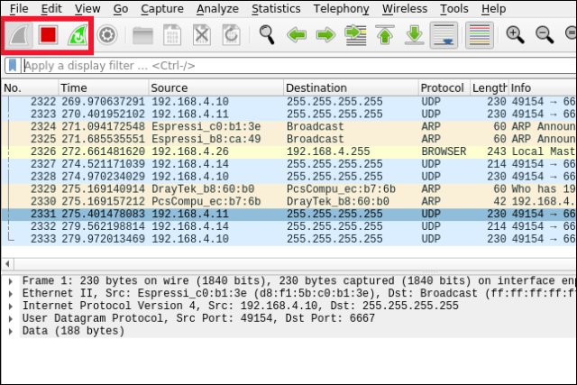 The shark fin, square, and shark fin with a circular arrow icons highlighted in the Wireshark interface with an active packet capture.