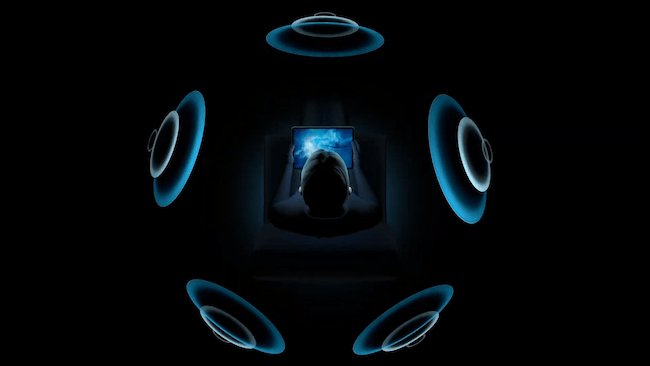 Illustration of spatial audio in Apple AirPods
