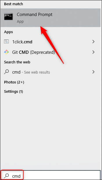 Command Prompt option in Windows search