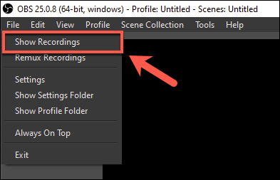 Press File > Show Recordings to view recorded files in OBS