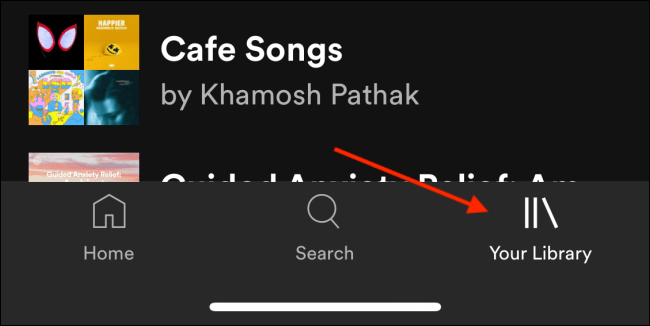 Switch to Your Library tab in Spotify
