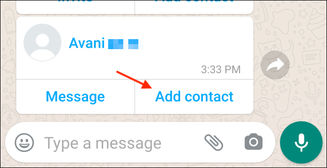Tap Add Contact in Android WhatsApp