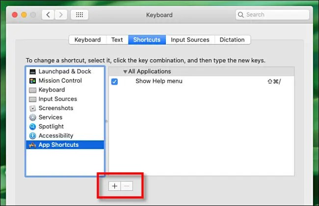 Click the plus sign (+) to add a keyboard shortcut.