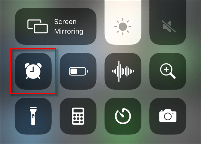 The Alarm shortcut icon in iPhone Control Center