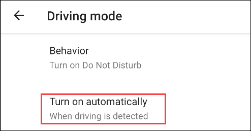 turn on driving mode automatically