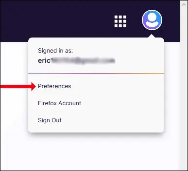 "Click ""Prefrences"" from the drop down menu"