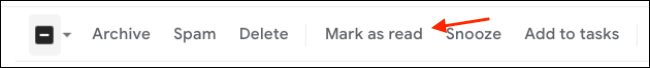 Click the Mark As Read Button From Gmail Toolbar in Web