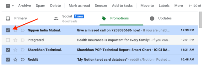 Select Multiple Emails in Gmail To Mark As Read