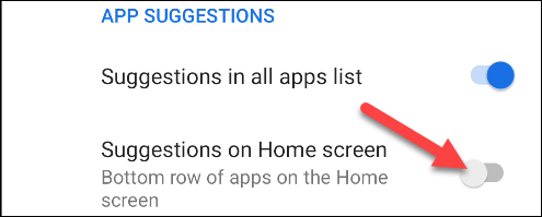 disable suggestions on home screen