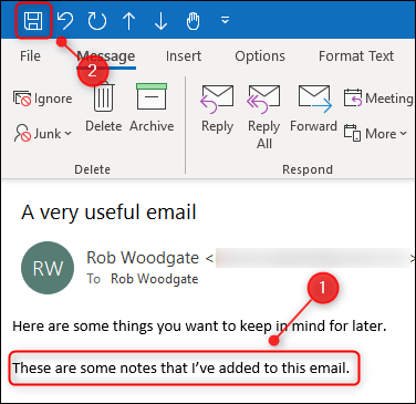 "The edited body of an email and the ""Save"" button."