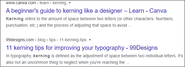 """Results for """"kerning"""" in Google Search."""