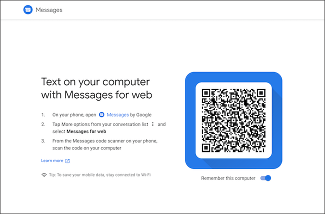 Scan QR code to link Android messages and Chromebook