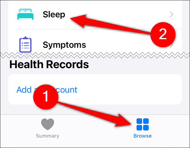 """Tap """"Browse,"""" and then tap """"Sleep."""""""