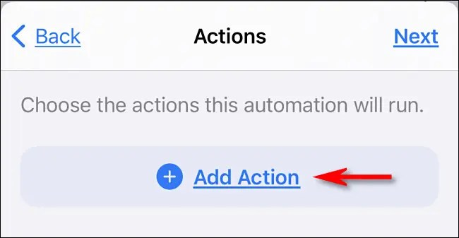 "In Apple Shortcuts on iPhone, tap ""Add Action."""