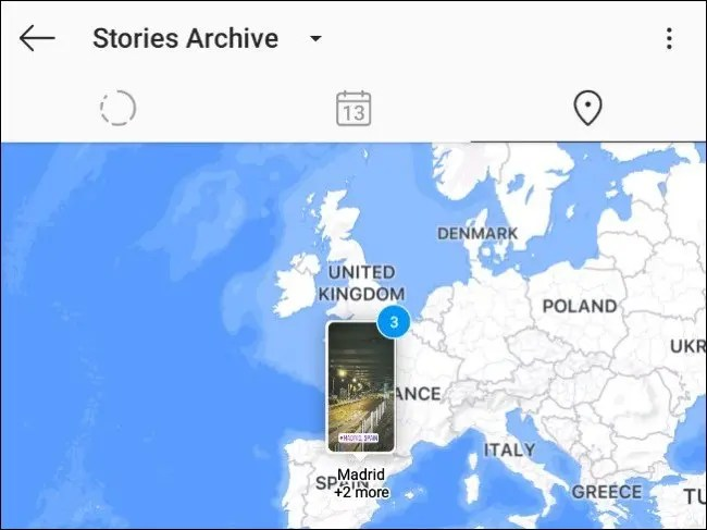 An Instagram story on the U.K. in the world map view.
