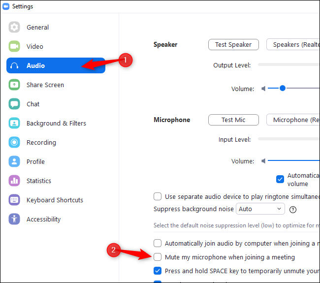"Select ""Audio"" and enable ""Mute my microphone when joining a meeting"" in Zoom Settings"