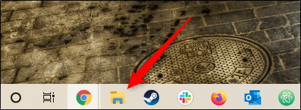 The File Explorer folder icon on the Windows 10 taskbar.