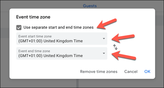 "To add a secondary time zone, click the ""Use separate start and end time zones"" checkbox. Select a primary (or primary and secondary) time zone from the drop-down menus"