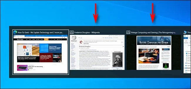 An example of Microsoft Edge Browser Tabs shown in Alt+Tab Task Switcher