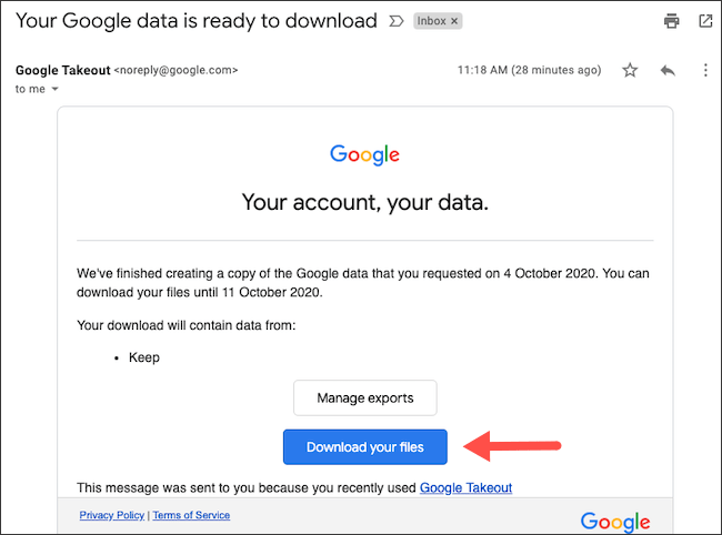 "Click ""Download Your Files."""