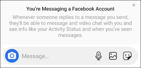 "The ""You're Messaging a Facebook Account"" pop-up."