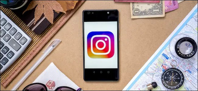 The Instagram logo on a smartphone.